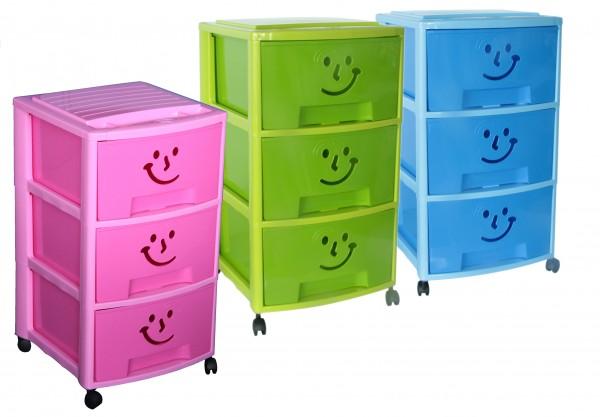 """Rollcontainer Spielzeugkiste mit 3 Schubladen """"Gesicht"""""""