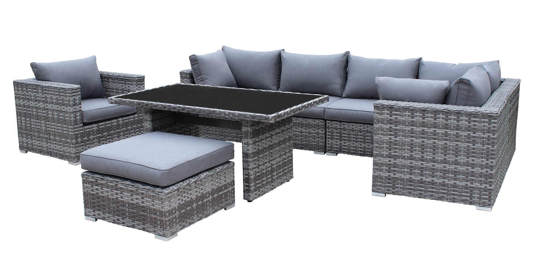 comfort xl polyrattan ecklounge gartenm bel sitzgruppe. Black Bedroom Furniture Sets. Home Design Ideas