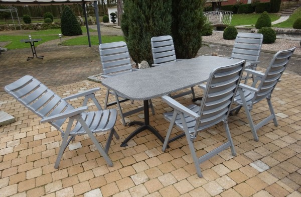 MIA Gartenmöbel Set Gruppe Sitzgarnitur, 7-teilig - Mosaik / silber