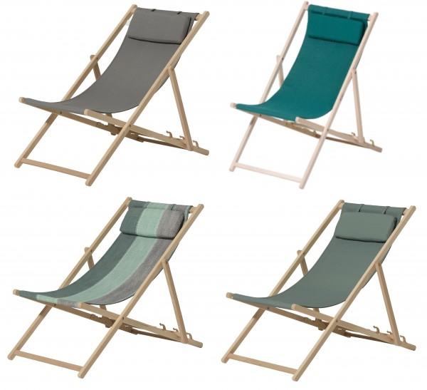 Strandliege aus Birkenholz Klappliege Strandstuhl mit Kopfteil