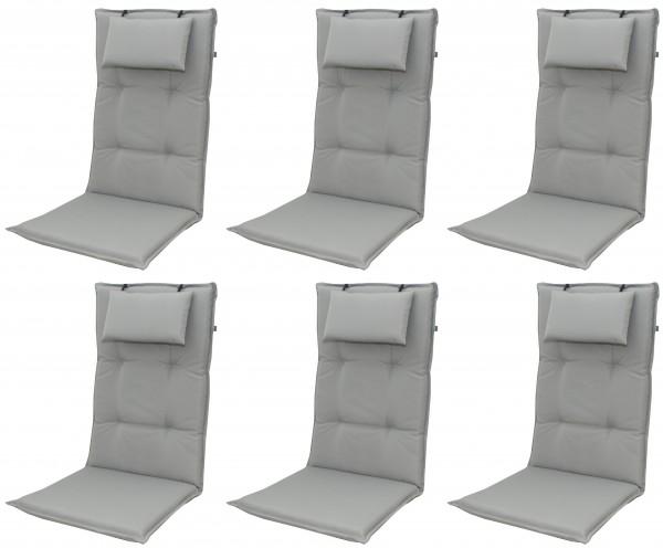 6x 9827 Hochlehner Gartenstuhl Auflagen 8cm Kopfkissen grau