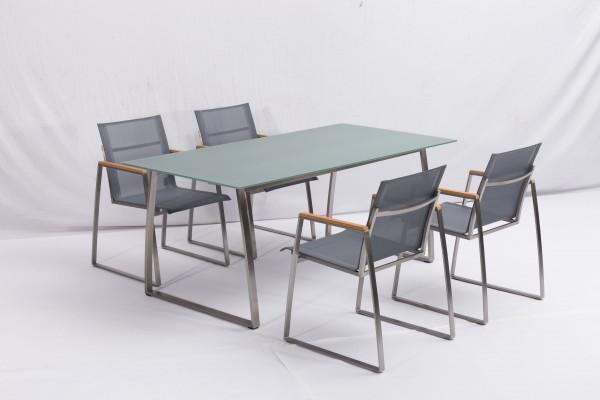 MODERN Edelstahl Gartenmöbel Set 5-tlg. Sitzgarnitur