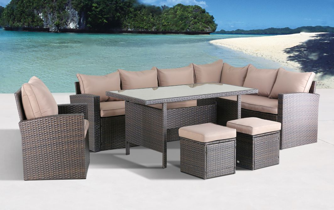 milos xl polyrattan ecklounge gartenm bel sitzgruppe braun lounge m bel garten. Black Bedroom Furniture Sets. Home Design Ideas