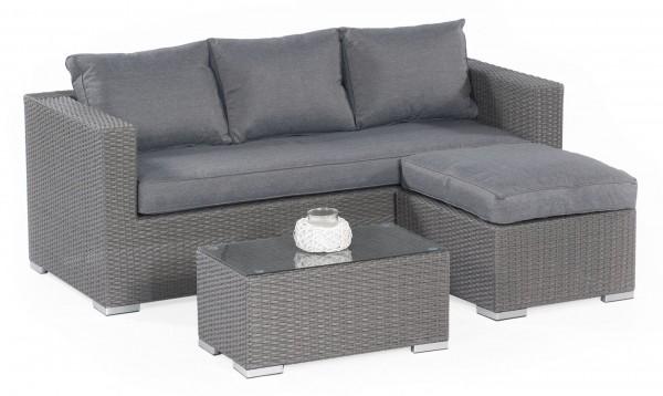 SALVADOR Polyrattan Ecklounge Gartenmöbel Sitzgruppe grau | Lounge ...