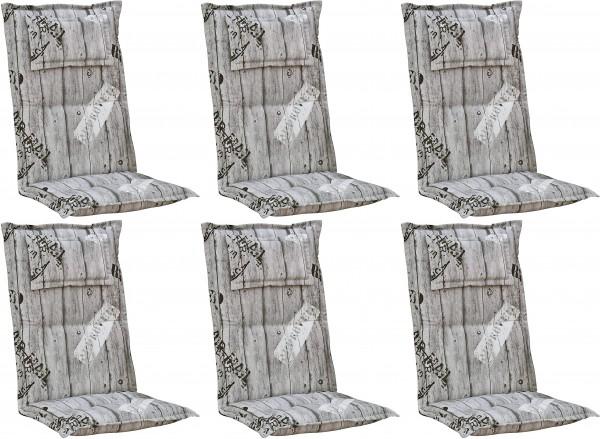 6x 778 Hochlehner Gartenstuhl Auflage Kissen 120x50x8cm grau