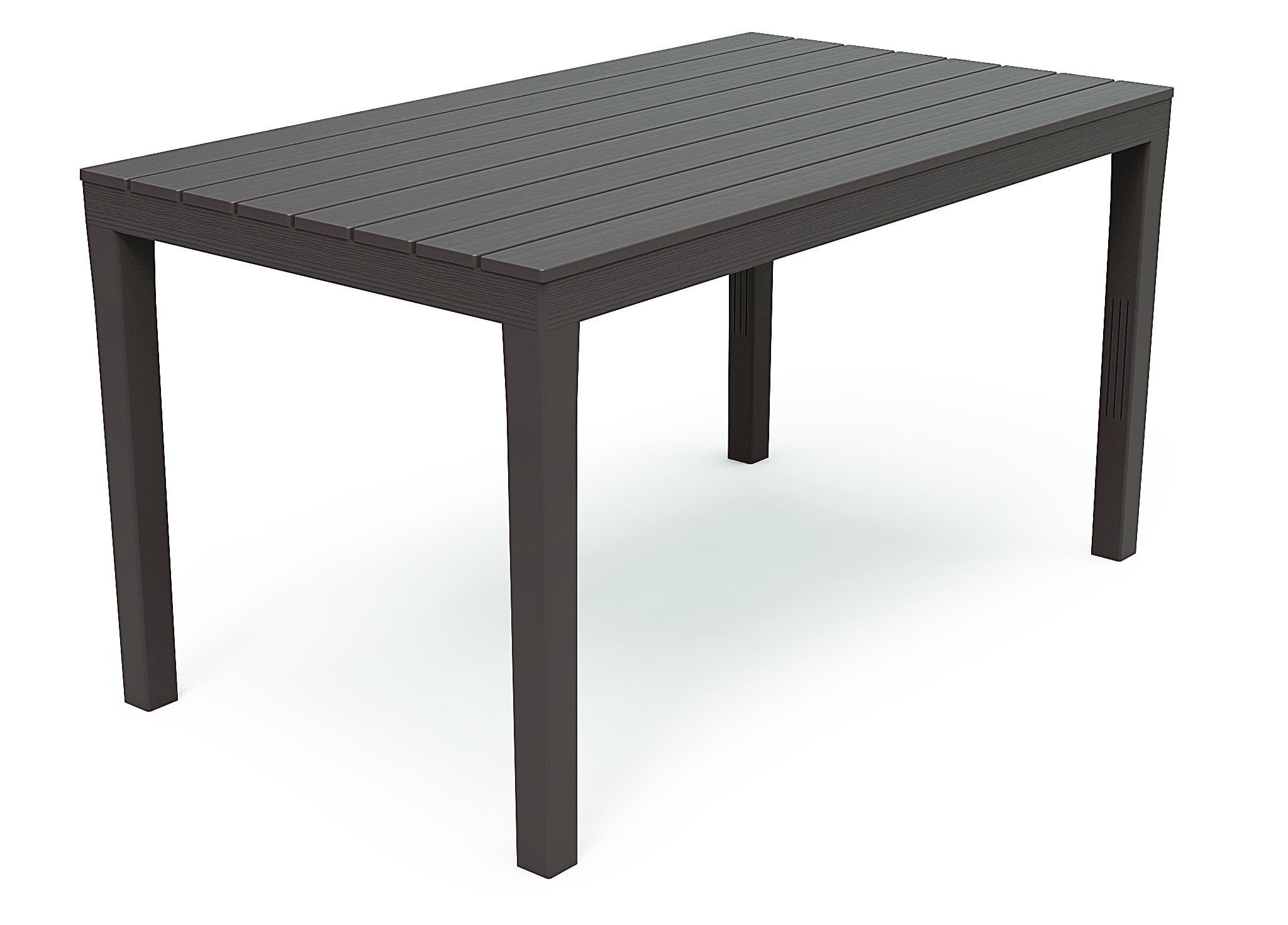 Sumatra Gartentisch 140x80cm Kunststoff In Holz Optik Braun