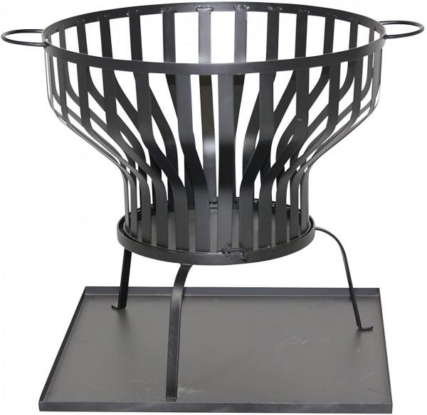 Feuerkorb Ø 60,5 cm Feuerschale mit Bodenplatte anthrazit