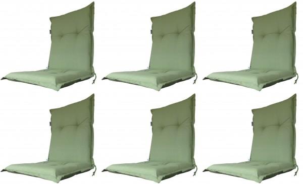 6x A044 Niederlehner Gartenstuhl Auflagen 105x50x8cm grün uni