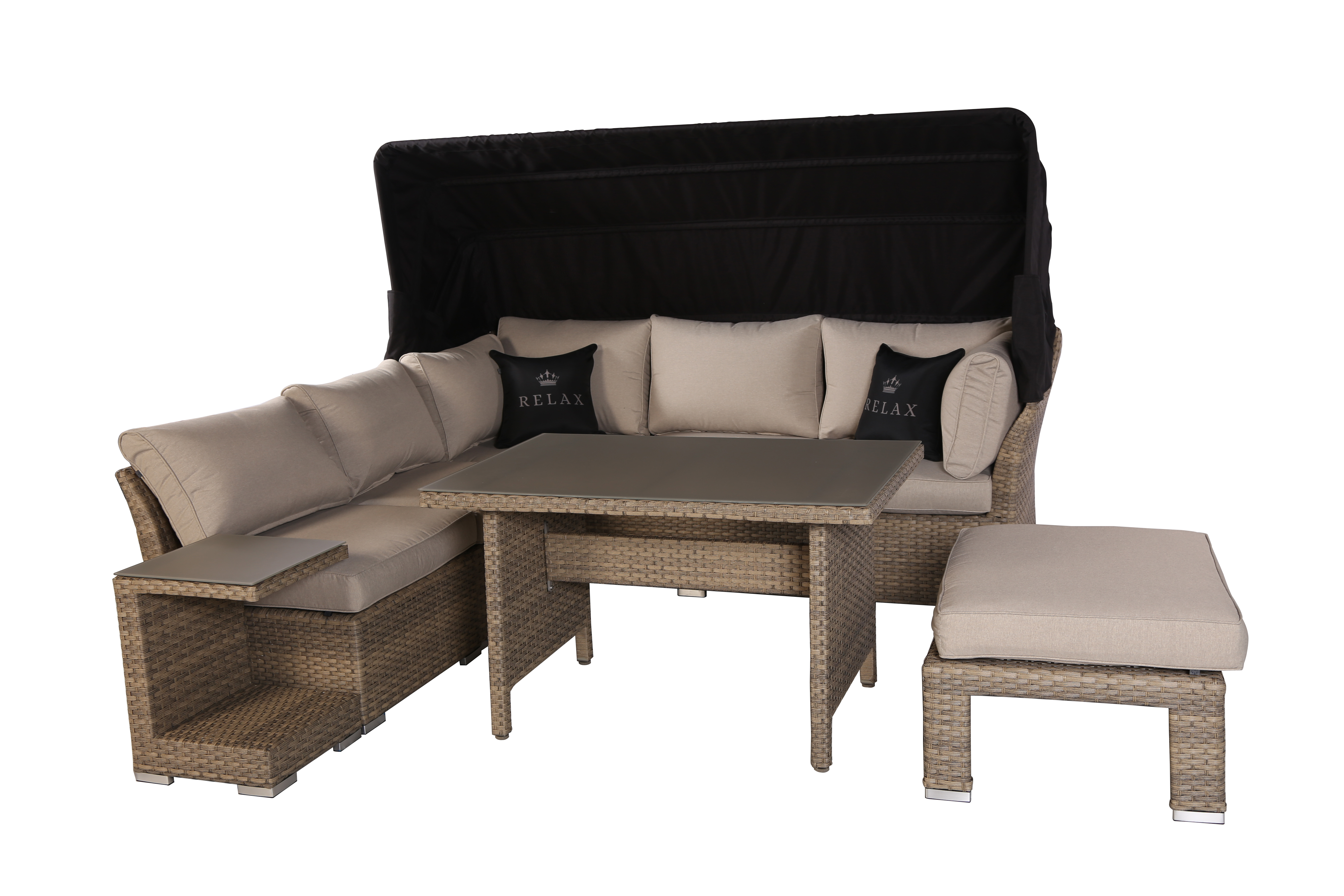 relax ecklounge polyrattan garten lounge set mit dach sand lounge m bel garten. Black Bedroom Furniture Sets. Home Design Ideas