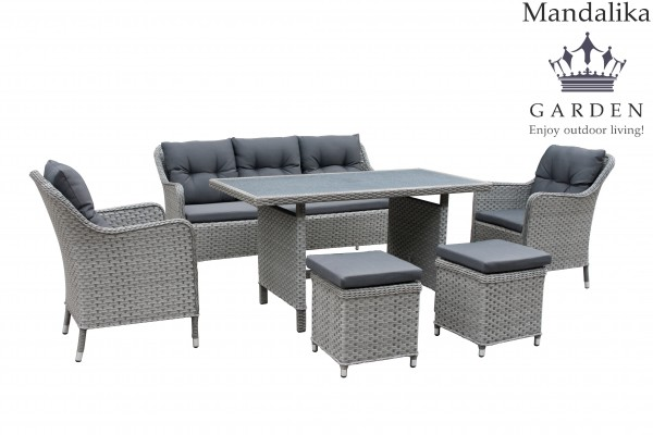 davos polyrattan lounge gartenm bel sitzgruppe grau. Black Bedroom Furniture Sets. Home Design Ideas