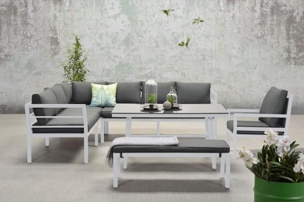 BLAKES XL Alu Ecklounge Gartenmöbel Sitzgruppe links weiß