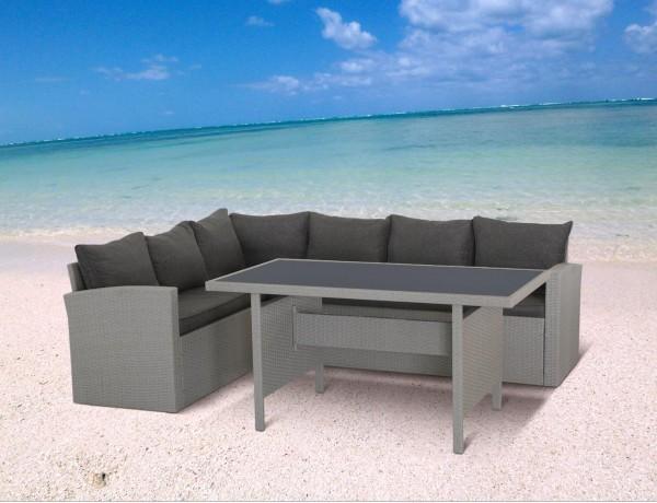 MILOS Polyrattan Ecklounge Gartenmöbel Sitzgruppe - grau | Lounge ...