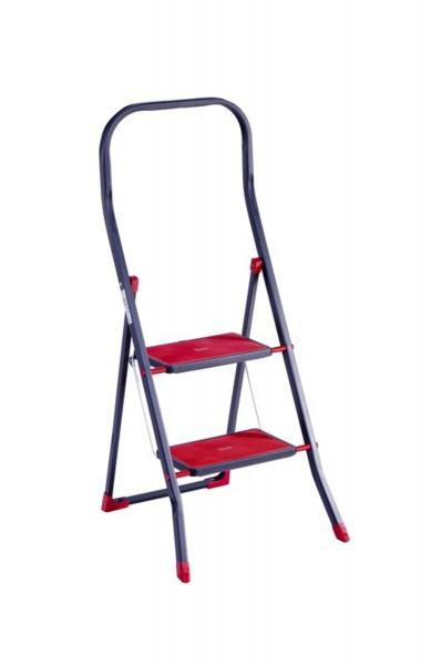 Sicherheits Klapp-Trittleiter mit 2 Stufen rot - 150kg Belastbarkeit