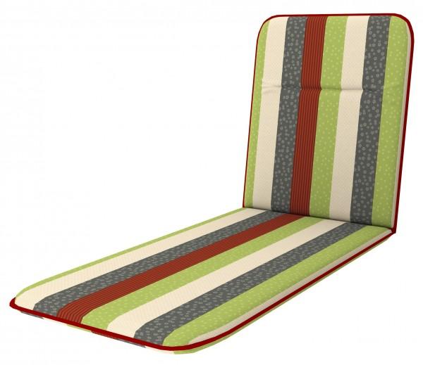 8901 Rollliegenauflage Gartenliege Auflage Kissen grün gestreift