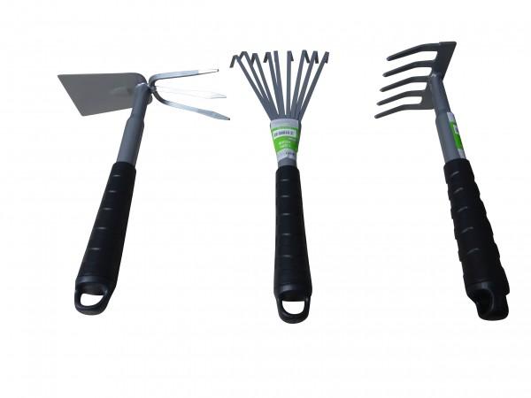 Gartengeräte-Set mit Rechen, Harke & Doppelhacke für Garten