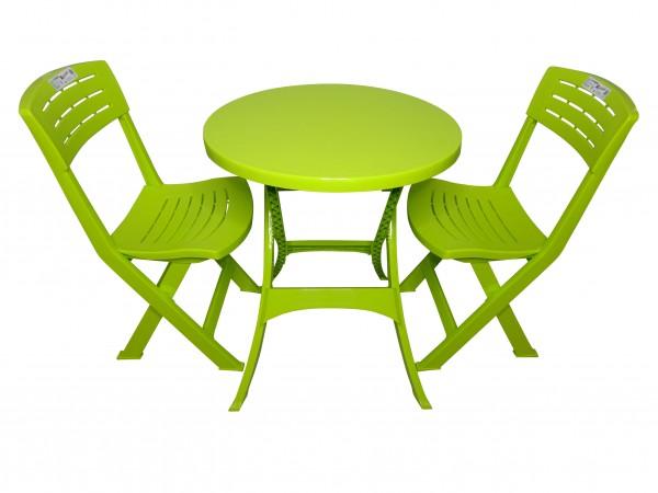 IPAE Balkon-Set Gartenmöbel aus Kunststoff 3-tlg Garnitur - grün