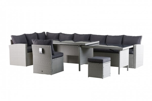 KEA XXL Polyrattan Ecklounge Gartenmöbel Sitzecke links grau
