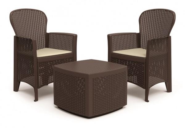 TREE Gartenmöbel Lounge Balkon-Set Rattan-Optik - braun