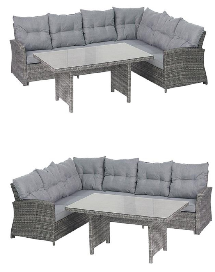 tango polyrattan ecklounge garten sitzgruppe grau lounge m bel garten. Black Bedroom Furniture Sets. Home Design Ideas