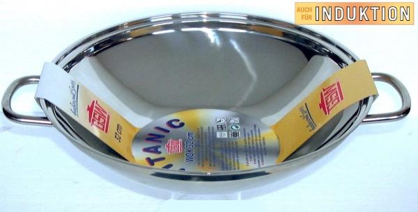 TITANIC Edelstahl Wok-Pfanne - Durchmesser 32cm