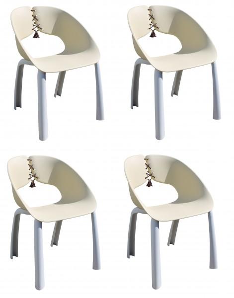 4x TRENDA Stapelsessel stylisch Sessel mit Schnüren grau / natur