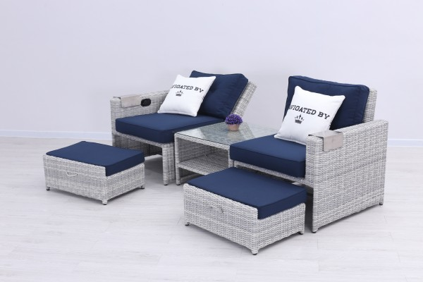SEKO Polyrattan Duo Daybed 2-Sitzer Lounge grau | Lounge-Möbel ...