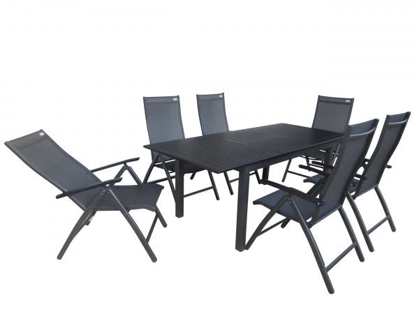 MUNDUK Alu Gartenmöbel Set Sitzgarnitur 7tlg anthrazit/schwarz
