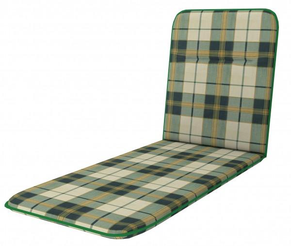 D129 Rollliegenauflage Gartenliege Auflage Kissen grün kariert