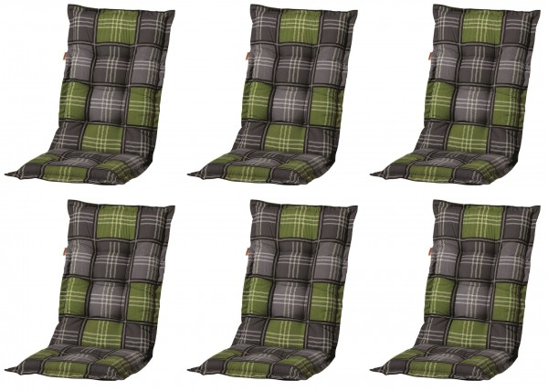 6x A054 Hochlehner Gartenstuhl Auflagen 120x50x8cm grün Karo