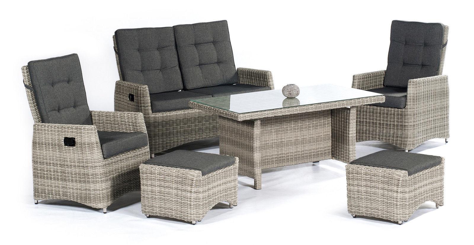 roseville polyrattan lounge gartenm bel sitzgruppe natur lounge m bel garten. Black Bedroom Furniture Sets. Home Design Ideas