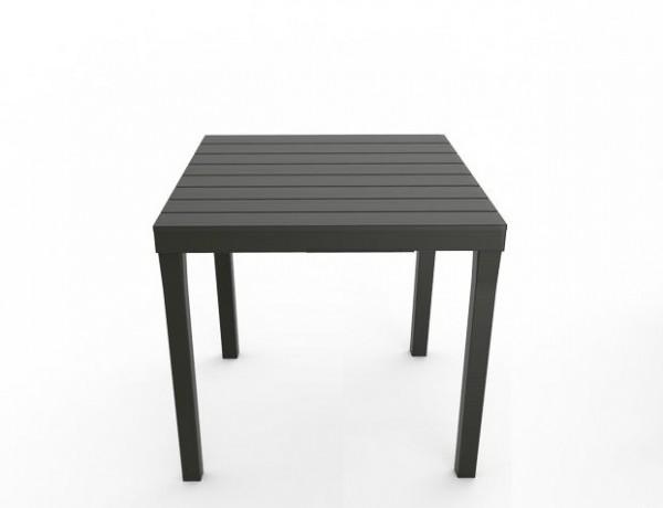 BALI Gartentisch 80x80cm Kunststoff in Holz-Optik - anthrazit