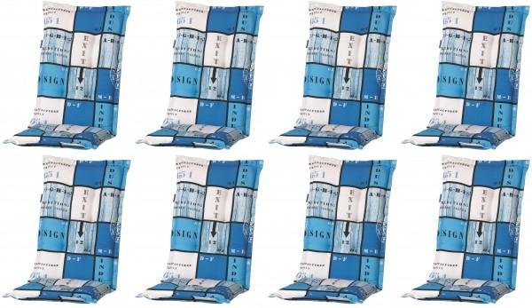 8x A033 Hochlehner Gartenstuhl Auflagen 120x50x8cm blau kariert