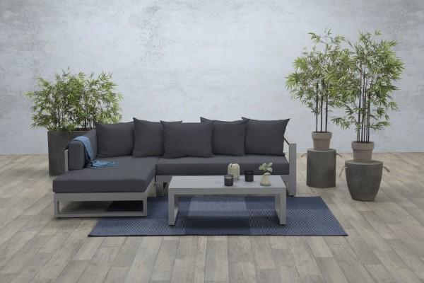VIKTORIA Alu Ecklounge Gartenmöbel Sitzgruppe grau links