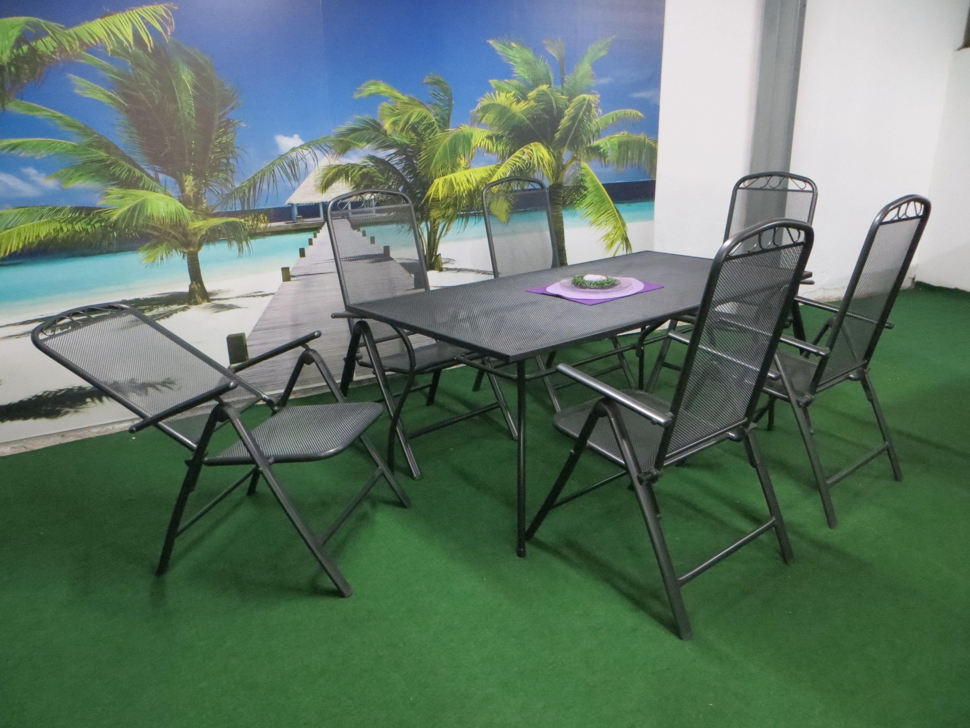 p24 streckmetall gartenm bel set 180x90cm 7 teilig grau. Black Bedroom Furniture Sets. Home Design Ideas