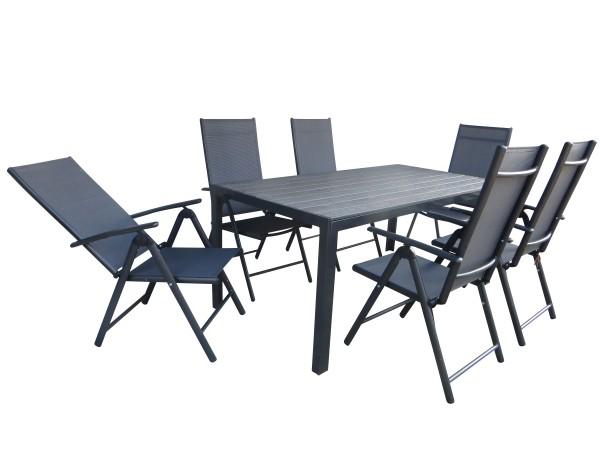 BURN XL Alu Gartenmöbel Set Sitzgarnitur 7-teilig anthrazit / grau ...