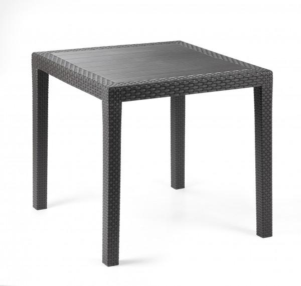 king gartentisch 80x80cm kunststoff in polyrattan optik anthrazit gartentische garten. Black Bedroom Furniture Sets. Home Design Ideas